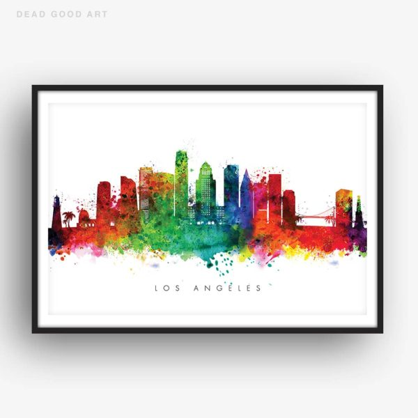 los angeles skyline multi color watercolor print
