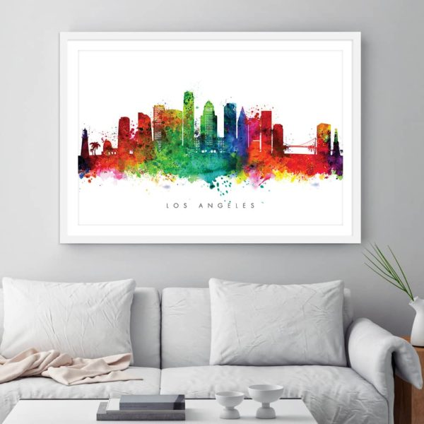 los angeles skyline multi color watercolor print framed