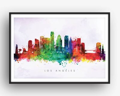 los angeles skyline purple wash watercolor print