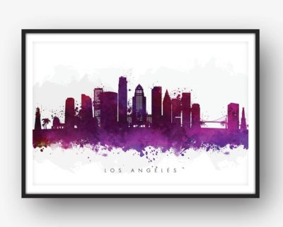 los angeles skyline purple watercolor print