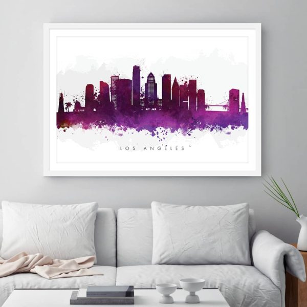 los angeles skyline purple watercolor print framed