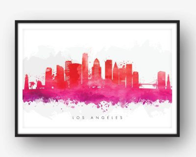 los angeles skyline red watercolor print