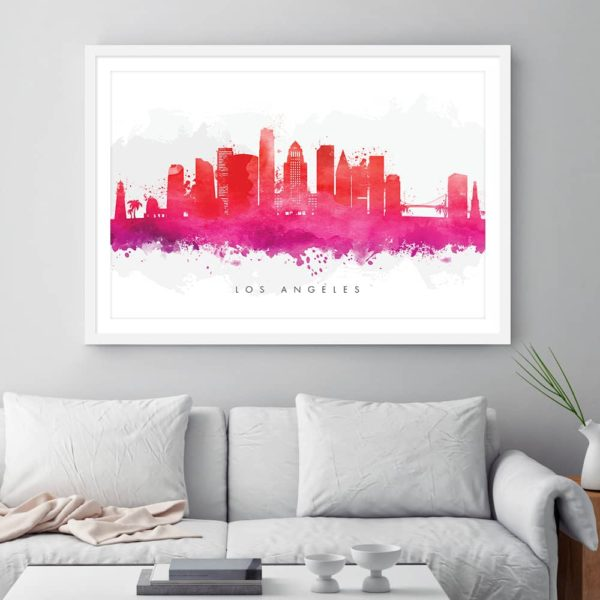 los angeles skyline red watercolor print framed
