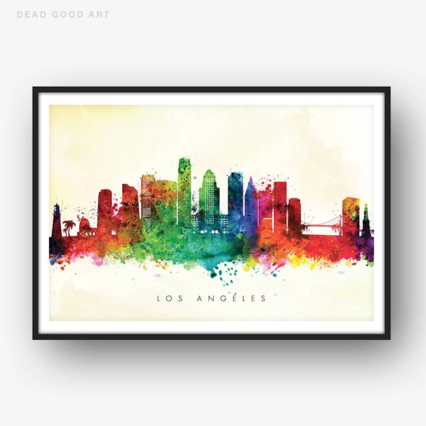 los angeles skyline yellow wash watercolor print