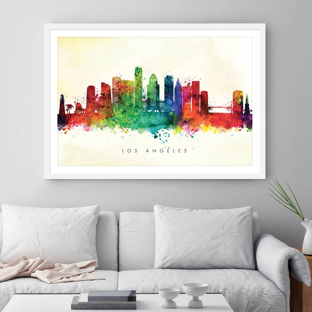 los angeles skyline yellow wash watercolor print framed