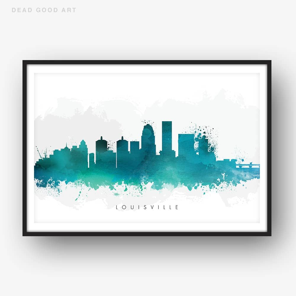 louisville skyline green watercolor print 1