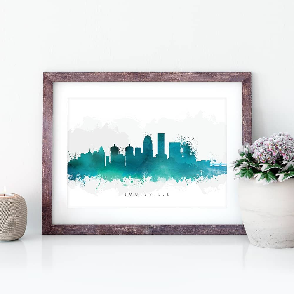 louisville skyline green watercolor print closeup 1