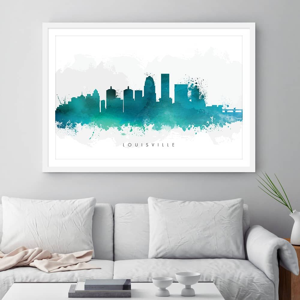 louisville skyline green watercolor print framed 1