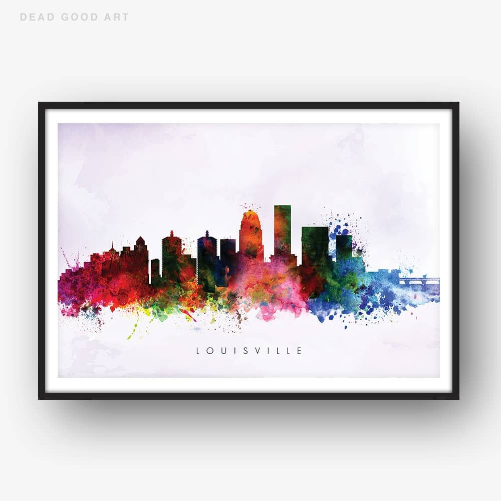 louisville skyline purple wash watercolor print 1