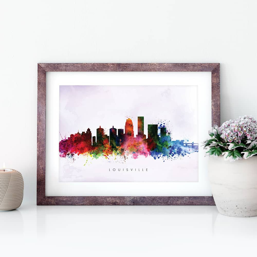 louisville skyline purple wash watercolor print closeup 1