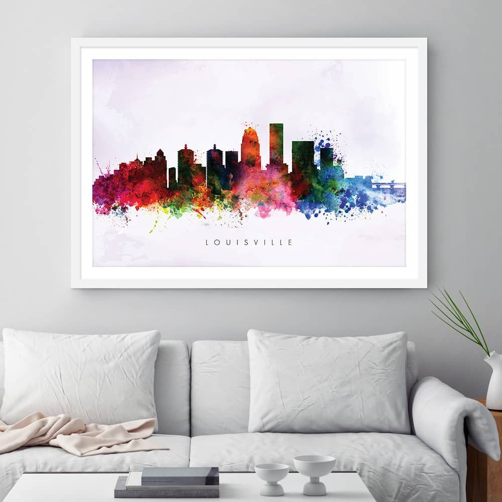 louisville skyline purple wash watercolor print framed 1