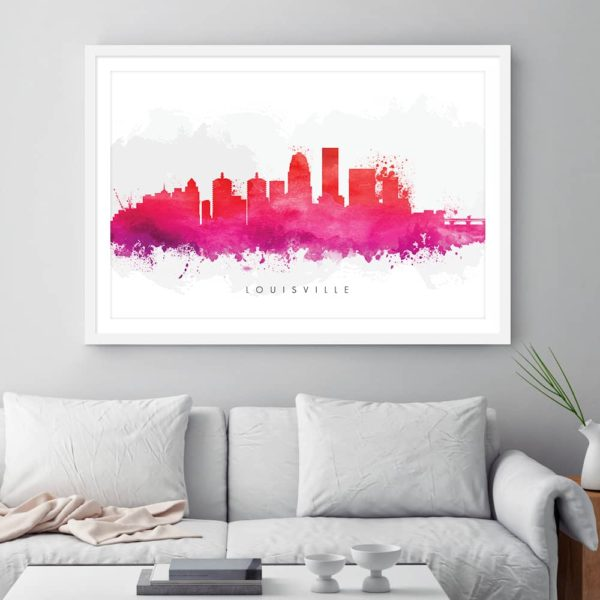 louisville skyline red watercolor print framed 1