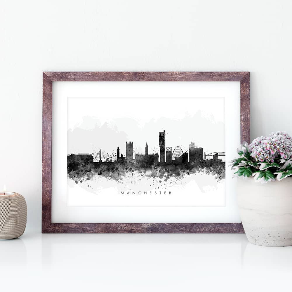 manchester skyline black white watercolor print closeup