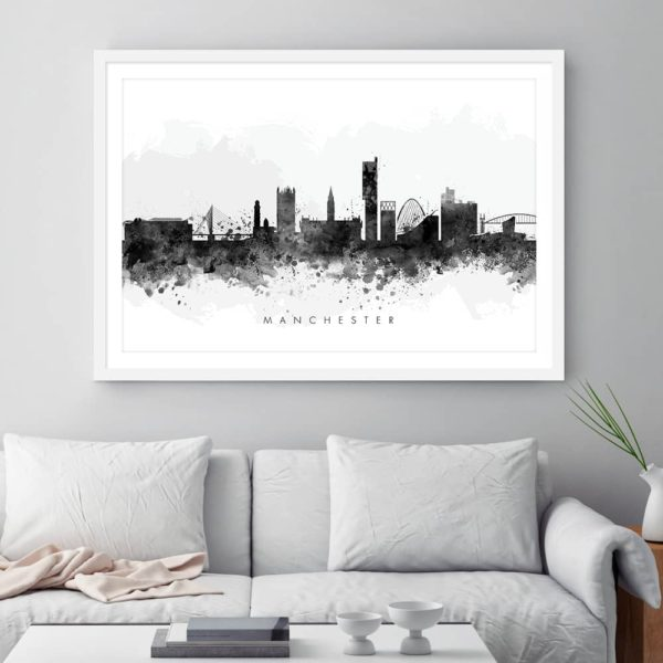 manchester skyline black white watercolor print framed