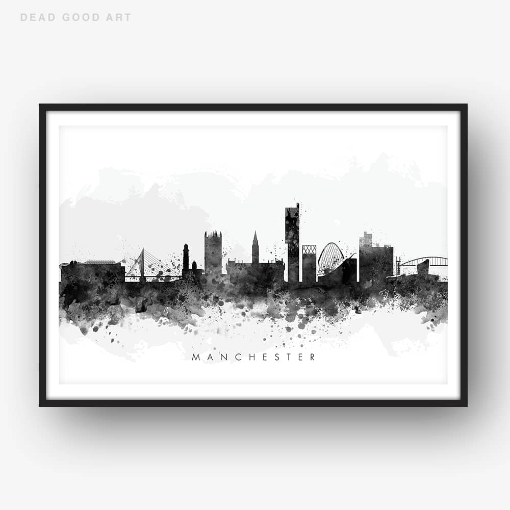 manchester skyline black white watercolor print
