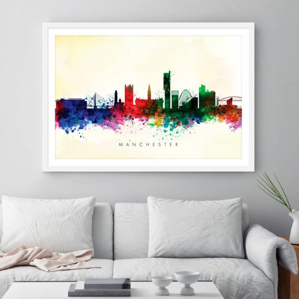 manchester skyline blue wash watercolor framed
