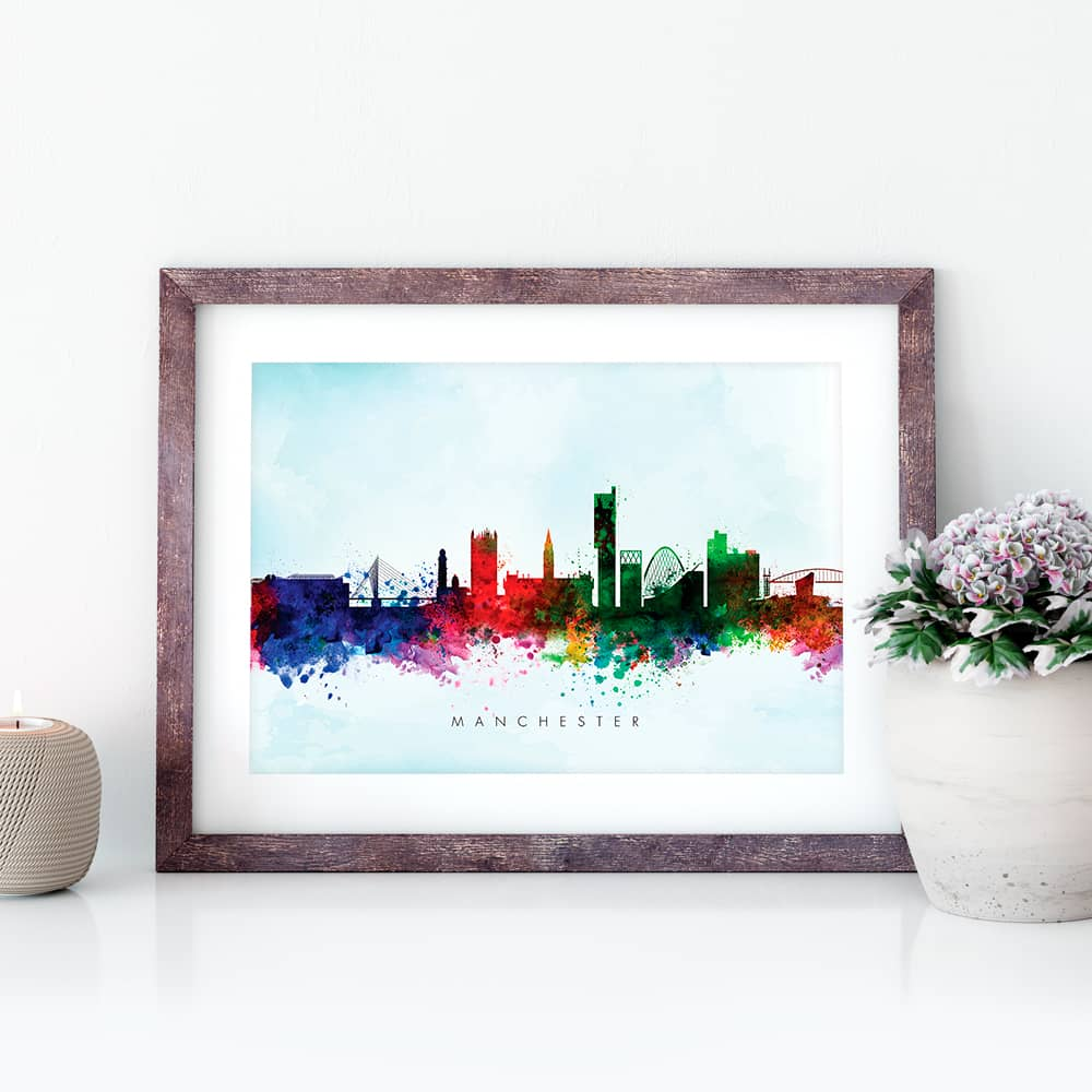 manchester skyline blue wash watercolor print closeup