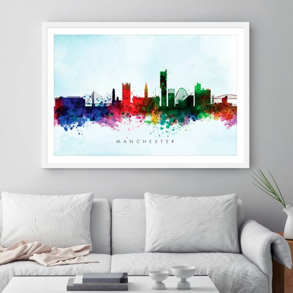 manchester skyline blue wash watercolor print framed