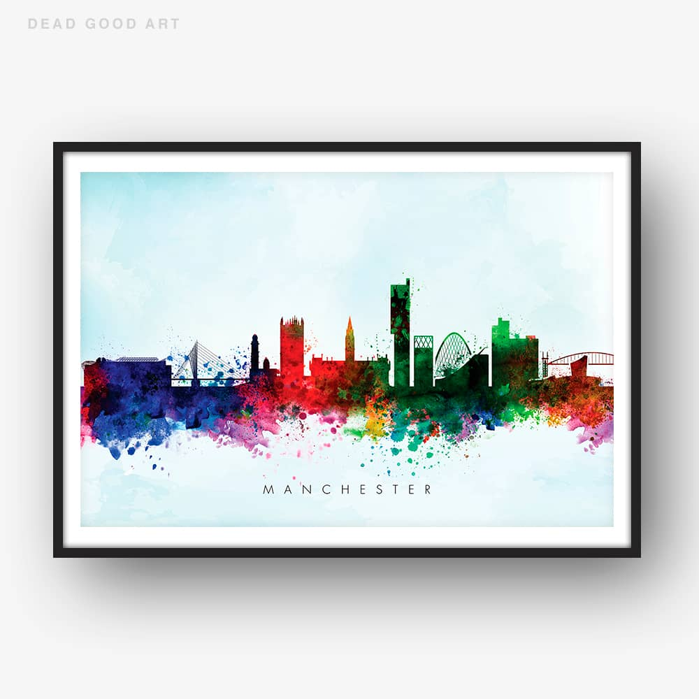 manchester skyline blue wash watercolor print