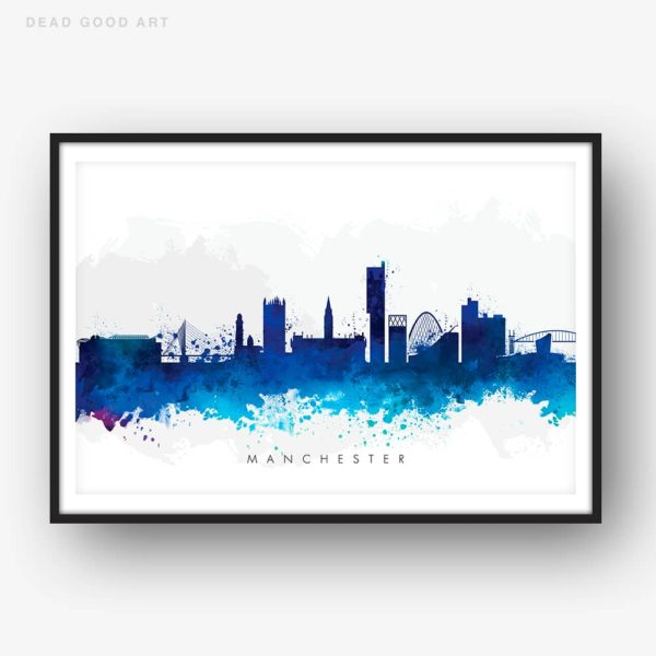 manchester skyline blue watercolor print