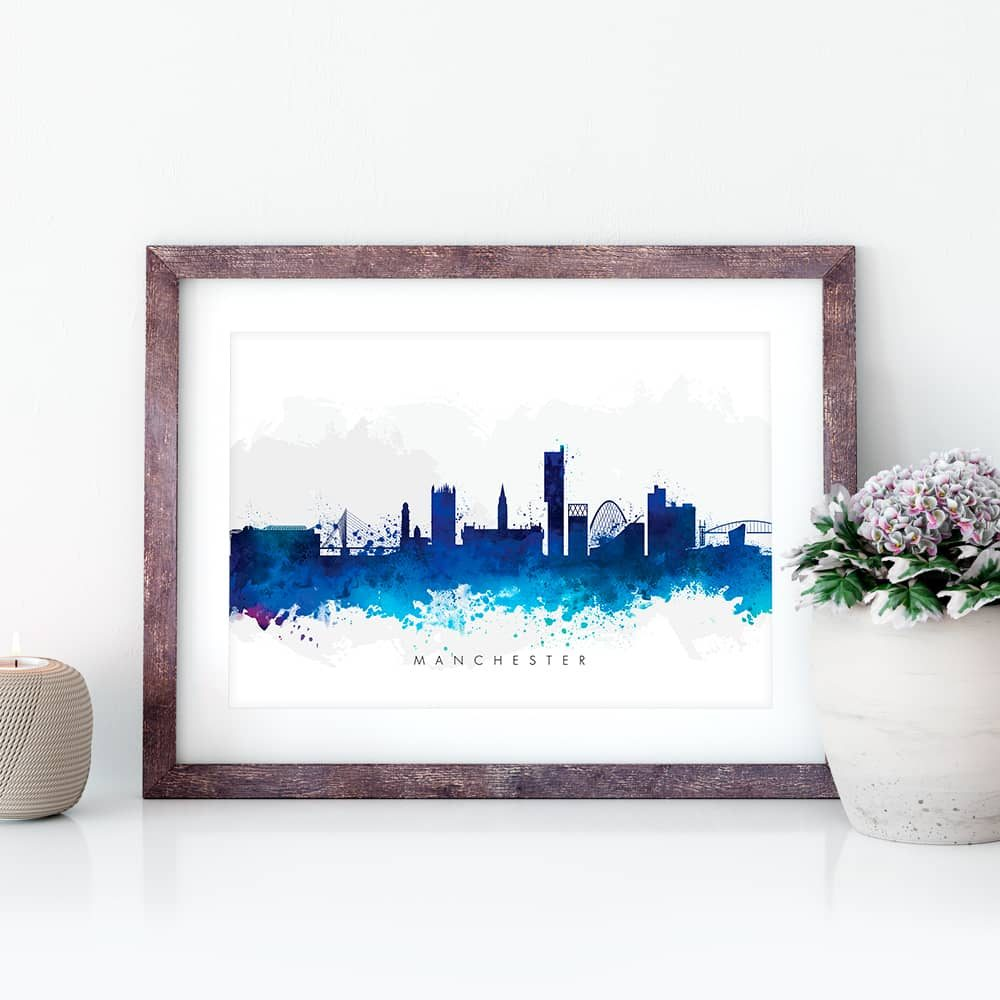 manchester skyline blue watercolor print closeup