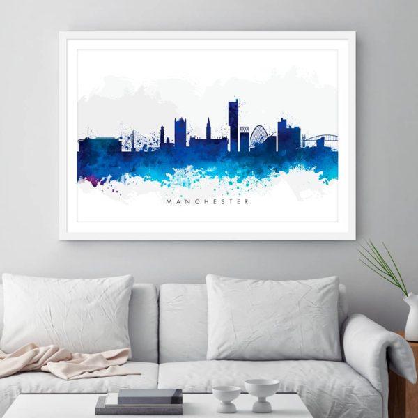 manchester skyline blue watercolor print framed