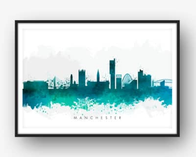 manchester skyline green watercolor print