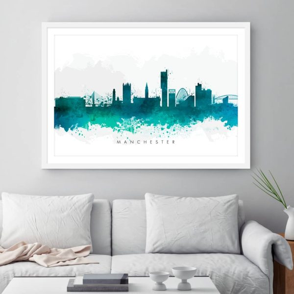 manchester skyline green watercolor print framed
