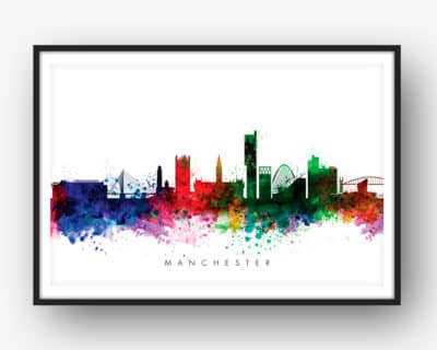 manchester skyline multi color watercolor print