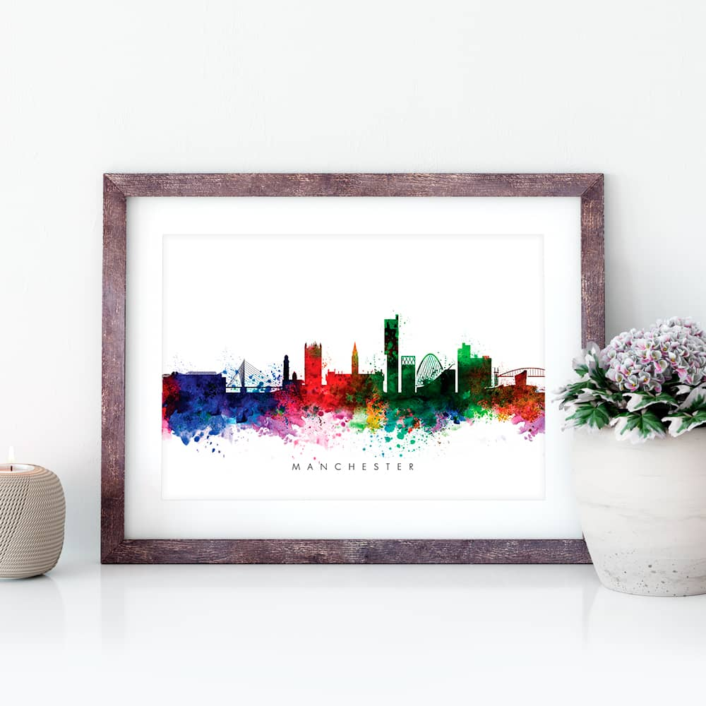 manchester skyline multi color watercolor print closeup