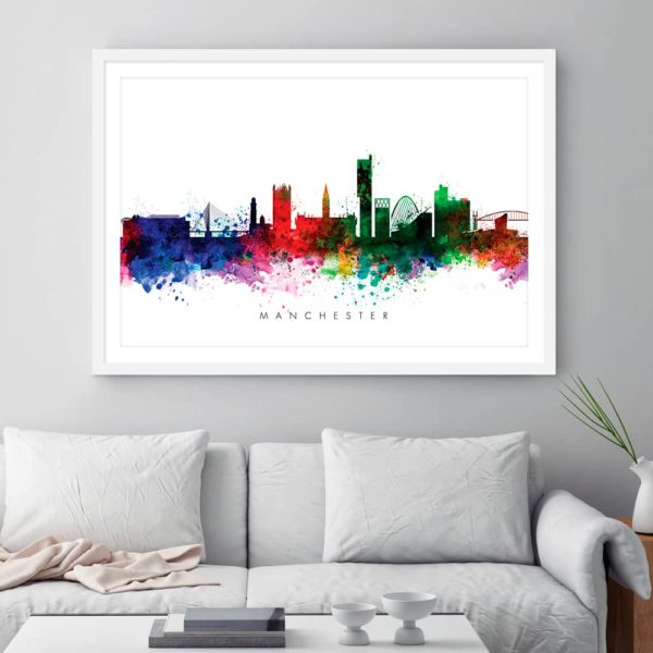 manchester skyline multi color watercolor print framed