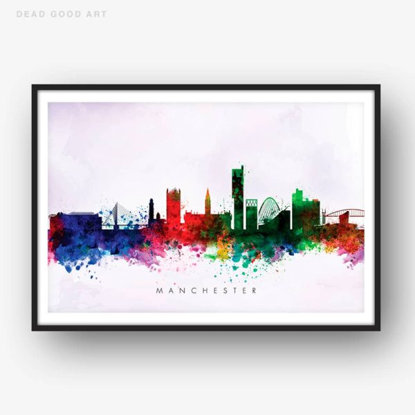 manchester skyline purple wash watercolor print