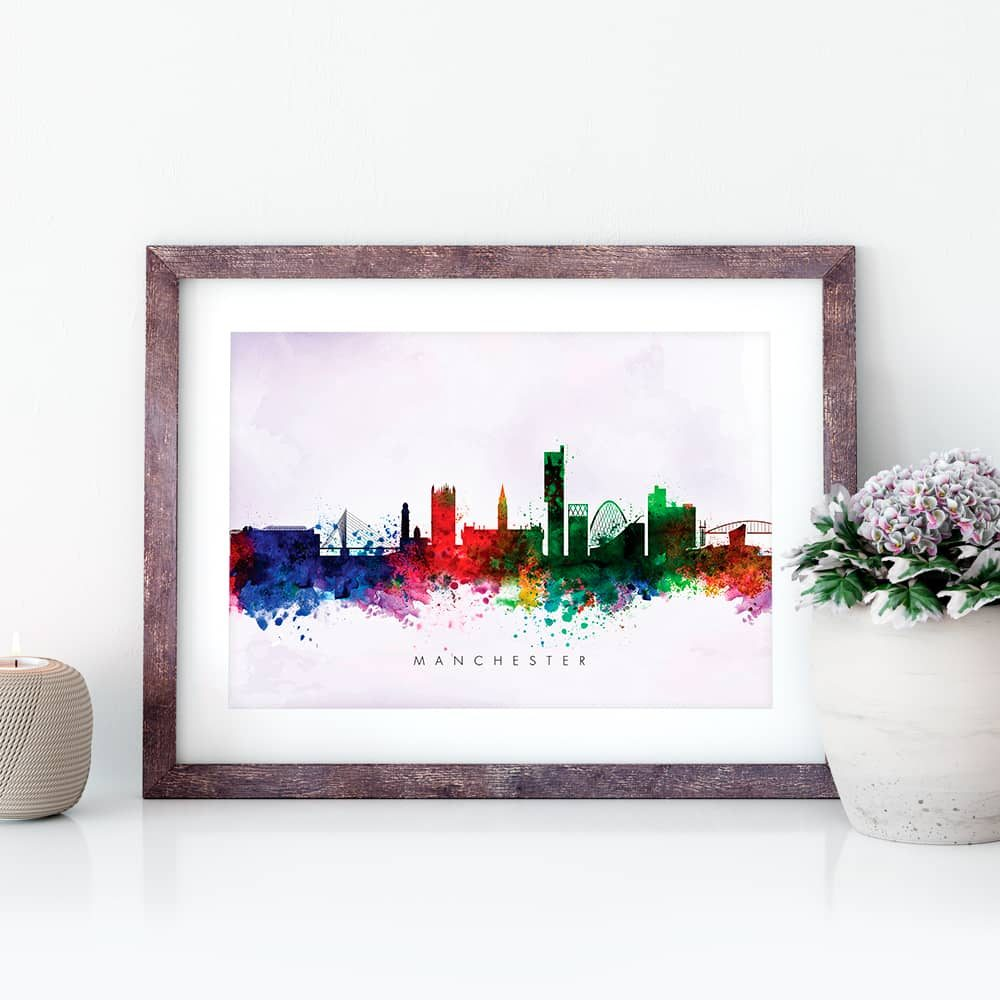 manchester skyline purple wash watercolor print closeup
