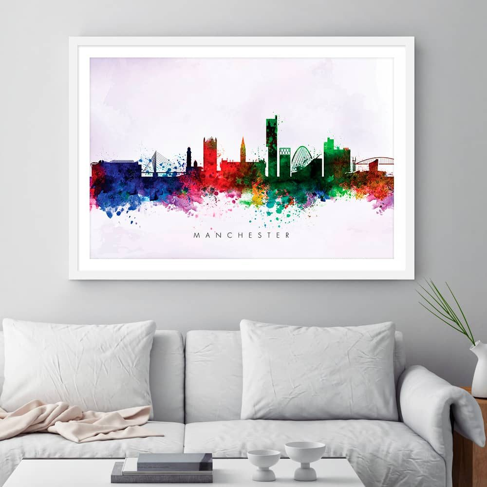 manchester skyline purple wash watercolor print framed
