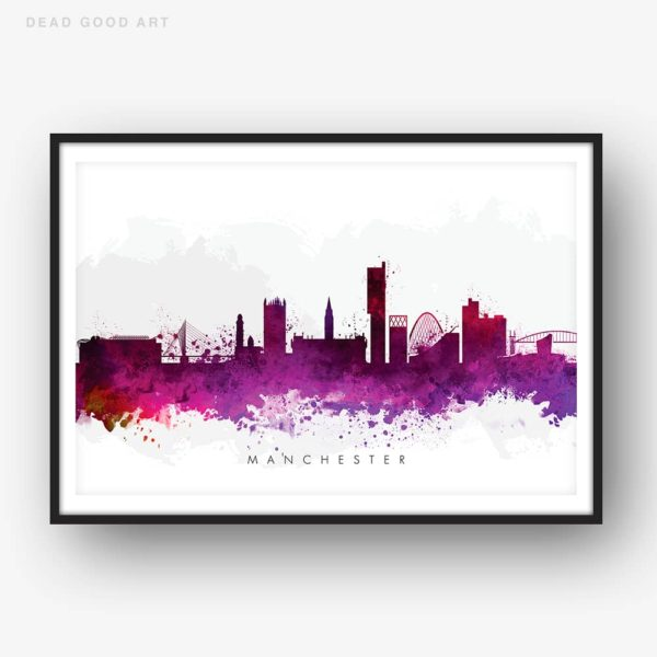 manchester skyline purple watercolor print