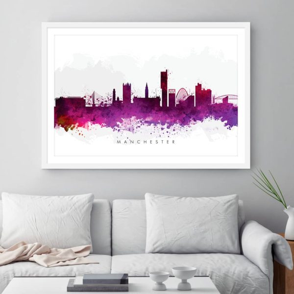 manchester skyline purple watercolor print framed