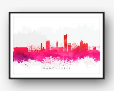 manchester skyline red watercolor print