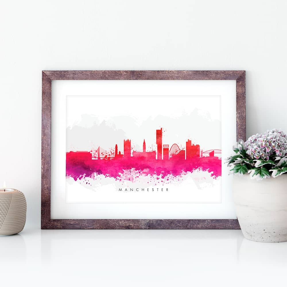 manchester skyline red watercolor print closeup