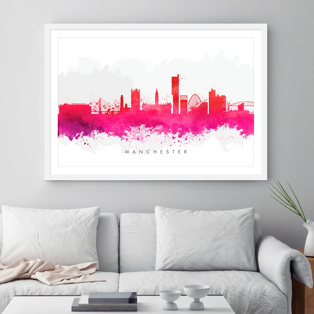 manchester skyline red watercolor print framed