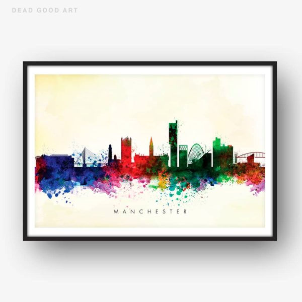 manchester skyline yellow wash watercolor print