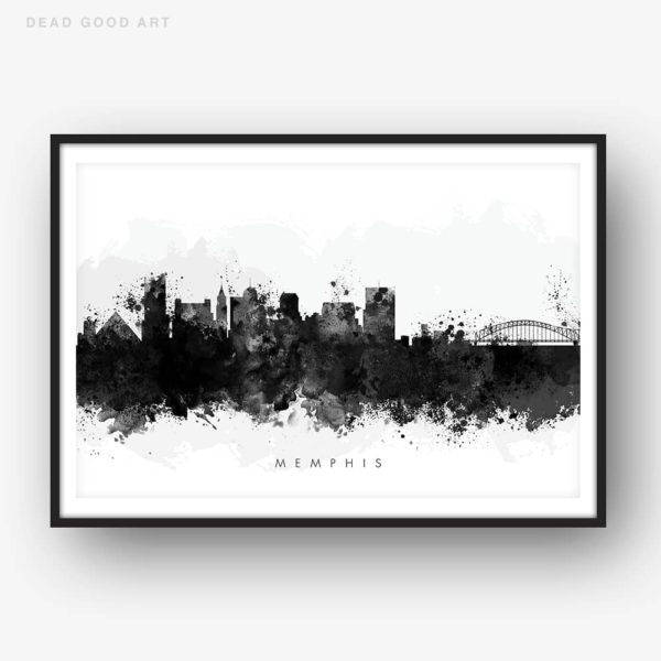 memphis skyline black white watercolor print