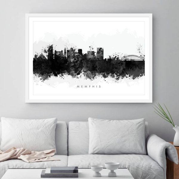 memphis skyline black white watercolor print framed