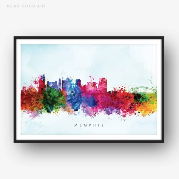 memphis skyline blue wash watercolor print