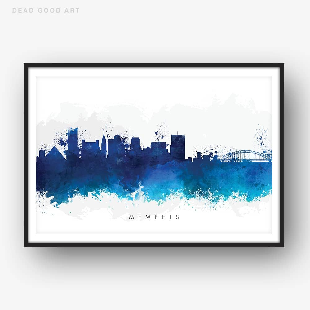 memphis skyline blue watercolor print