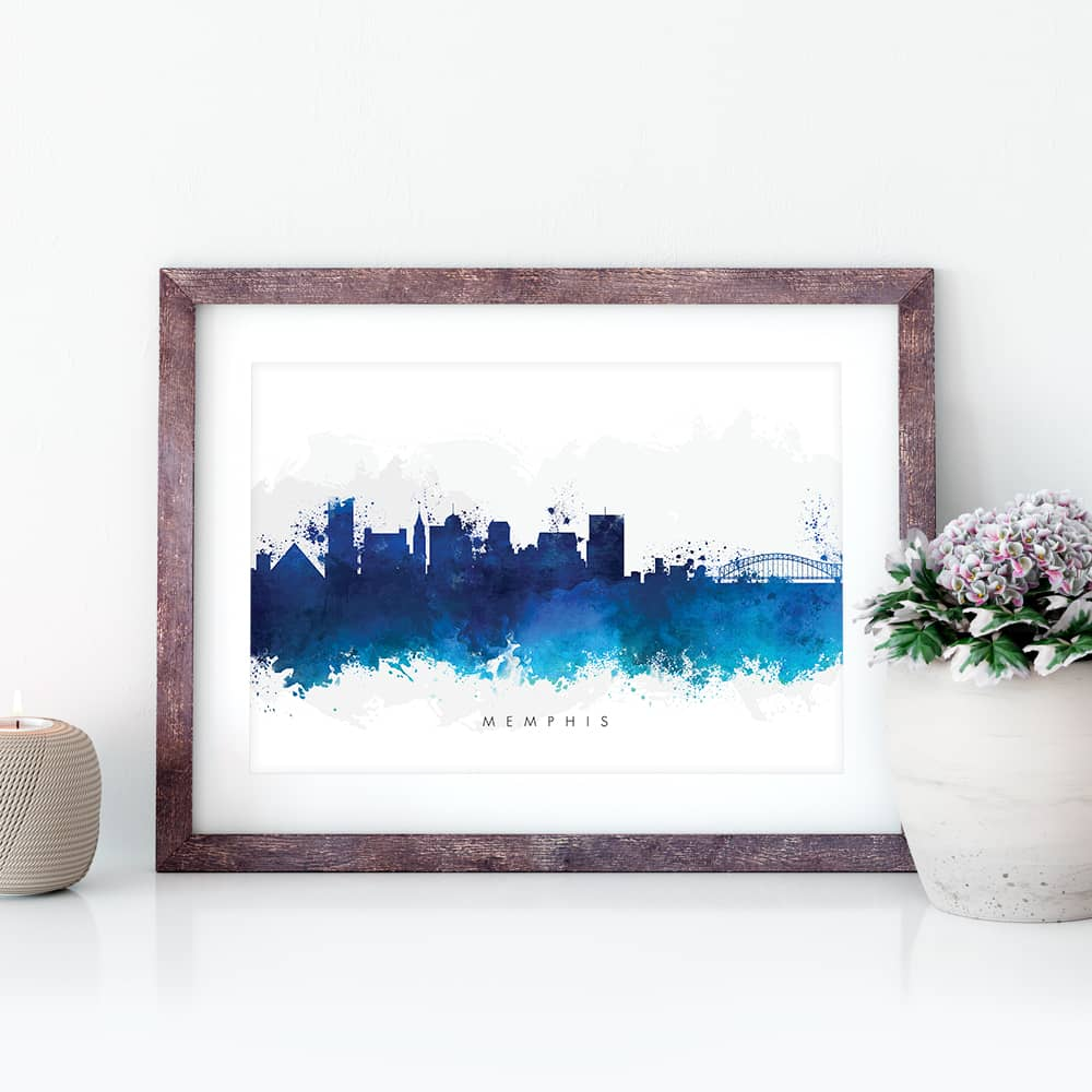memphis skyline blue watercolor print closeup