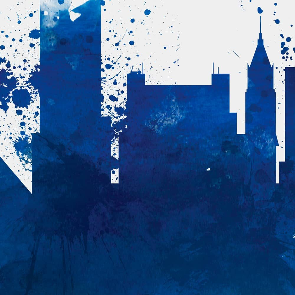 memphis skyline blue watercolor print detail