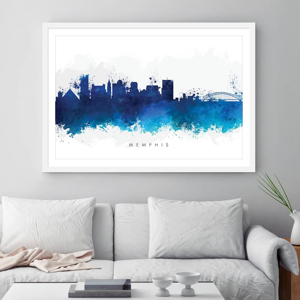 memphis skyline blue watercolor print framed