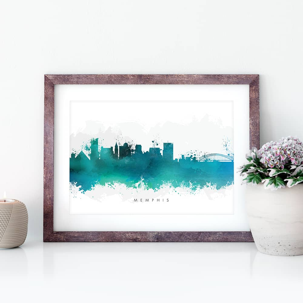 memphis skyline green watercolor print closeup