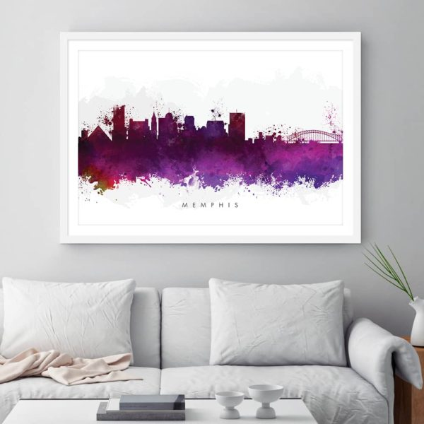 memphis skyline green watercolor print framed 1