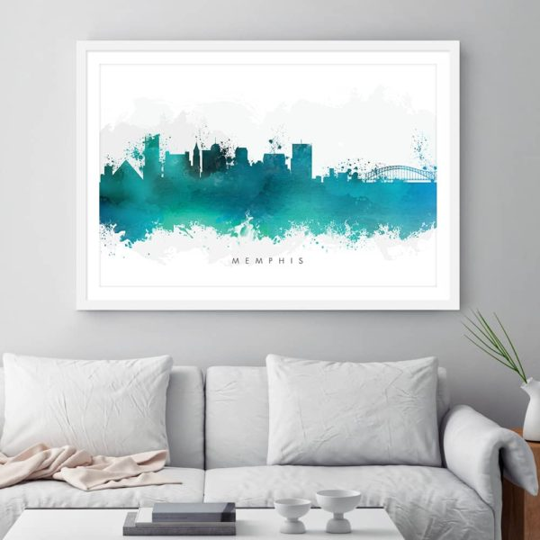 memphis skyline green watercolor print framed
